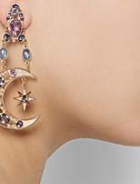 cheap -Women's Hoop Earrings Geometrical Moon Star Statement Trendy Earrings Jewelry Blue For Party Wedding 1 Pair