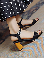 cheap -Women's Sandals Block Heel Round Toe PU Buckle Solid Colored Black Pink Green