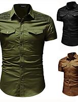 cheap -Men's Hiking Jacket Hiking Shirt / Button Down Shirts Short Sleeve Shirt Coat Top Outdoor Quick Dry Lightweight Breathable Sweat wicking Autumn / Fall Spring Summer ArmyGreen Black khaki Hunting