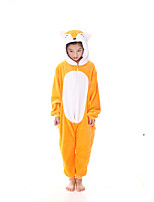 cheap -Adults' Kigurumi Pajamas Fox Onesie Pajamas Flannel Fabric Yellow Cosplay For Men and Women Animal Sleepwear Cartoon Festival / Holiday Costumes