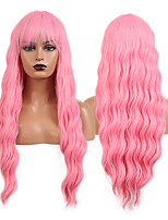 cheap -Cosplay Costume Wig Synthetic Wig Wavy Loose Curl Middle Part Wig 24 inch Pink+Red Synthetic Hair Women's Odor Free Fashionable Design Soft Pink