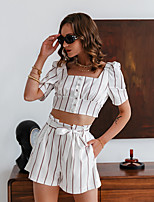 cheap -Women's Basic Streetwear Striped Vacation Casual / Daily Two Piece Set Crop Top Shirred Cami Top Shorts Tops