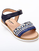 cheap -Girls' Sandals Roman Shoes Princess Shoes Knit Lace up Big Kids(7years +) Daily Home Pearl Buckle Black Spring Summer / Color Block