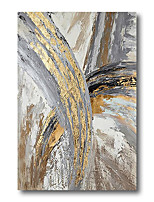 cheap -Stretched Oil Painting Hand Painted Canvas Abstract Comtemporary Modern High Quality Grey Golden Ready to Hang