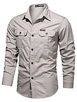 cheap -Men's Hiking Shirt / Button Down Shirts Fishing Shirt Military Tactical Shirt Long Sleeve Jacket Coat Top Outdoor Quick Dry Lightweight Breathable Sweat wicking Autumn / Fall Spring Summer