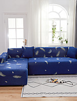 cheap -Blue Feather Print Dustproof All-powerful  Stretch L Shape Sofa Cover Super Soft Fabric Sofa Furniture Protector with One Free Boster Case
