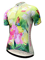 cheap -JESOCYCLING Women's Short Sleeve Cycling Jersey Yellow Sky Blue Bike Jersey Mountain Bike MTB Road Bike Cycling Quick Dry Breathable Sports Clothing Apparel / Stretchy