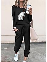 cheap -Women Basic Streetwear Cat Animal Vacation Casual / Daily Two Piece Set Tracksuit T shirt Pant Loungewear Jogger Pants Drawstring Print Tops