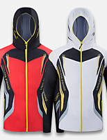cheap -Men's Hoodie Jacket Skin Coat Outdoor Quick Dry Lightweight Breathable Sweat-Wicking Jacket Spring Summer Fishing Camping & Hiking Cycling / Bike White Red / Ice Silk / Long Sleeve / Stretchy