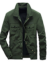 cheap -Men's Bomber Jacket Hiking Windbreaker Autumn / Fall Spring Outdoor Quick Dry Lightweight Breathable Sweat wicking Jacket Top Hunting Fishing Climbing Sapphire Black Army Green