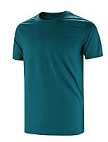 cheap -Men's T shirt Hiking Tee shirt Short Sleeve Tee Tshirt Top Outdoor Quick Dry Lightweight Breathable Sweat wicking Spring Summer Navy Lake Green White Hunting Fishing Climbing