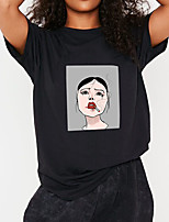 cheap -Women's T shirt Graphic Portrait Print Round Neck Tops 100% Cotton Basic Basic Top Black