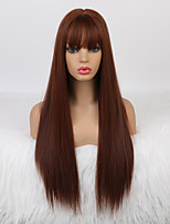 cheap -Cosplay Costume Wig Synthetic Wig Cosplay Wig Natural Straight Neat Bang With Bangs Wig Long Dark Red Synthetic Hair 26 inch Women's Fashionable Design Soft Party Ombre