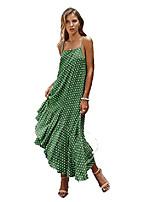 baratos -Vestido feminino casual com alça espaguete boêmio praia de bolinhas floral (pequeno, verde)