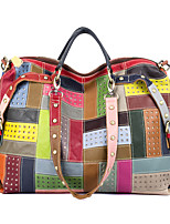 cheap -Women's Bags Cowhide Top Handle Bag Rivet Pattern Bohemian Style Mixed Color Special Design Daily Holiday Retro Floral Plaid Rainbow