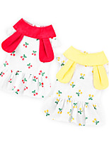 cheap -Dog Cat Dress Flower Rabbit / Bunny Basic Adorable Cute Casual / Daily Dog Clothes Puppy Clothes Dog Outfits Breathable Yellow Red Costume for Girl and Boy Dog Cotton Fabric S M L XL XXL