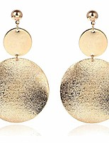 cheap -onlyjump shimmering round disc metal dangle earrings for women girls fashion retro frosted gold silver big circle geometric statement ear jewelry (gold)