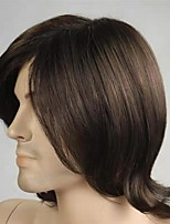 cheap -european and american new style men's wig new style short hair partial brown handsome short straight hair anti-spot chemical fiber wig cover