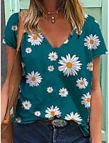 cheap -Women's T shirt Floral V Neck Tops Basic Basic Top Blue