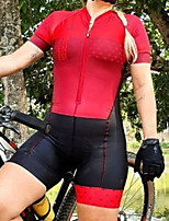 cheap -Women's Men's Short Sleeve Triathlon Tri Suit Summer Red Patchwork Bike Quick Dry Breathable Sports Patchwork Mountain Bike MTB Road Bike Cycling Clothing Apparel / Stretchy / Athletic