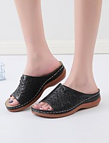cheap -Women's Sandals Wedge Heel Round Toe PU Flower Solid Colored Wine Black Brown