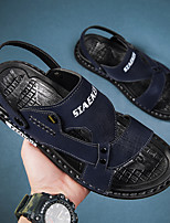 cheap -Men's Sandals Casual Beach Daily Walking Shoes PU Breathable Non-slipping Wear Proof Black Blue Gray Summer