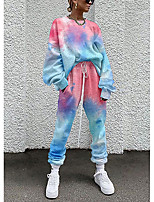 cheap -Women's Streetwear Cinched Tie Dye Going out Casual / Daily Two Piece Set Sweatshirt Tracksuit Pant Loungewear Drawstring Print Tops
