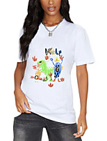 cheap -Women's T shirt Cartoon Graphic Graffiti Print Round Neck Tops 100% Cotton Basic Basic Top White Black