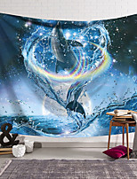 cheap -Wall Tapestry Art Decor Blanket Curtain Hanging Home Bedroom Living Room Decoration Polyester Dolphin Leaping Into a Rainbow Water Ring