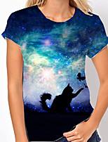 cheap -Women's T shirt Galaxy Cat Butterfly Print Round Neck Tops Basic Basic Top Blue Purple Green