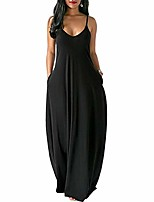 cheap -zzevolss long maxi dress plus size spaghetti strap v neck sundresses for women casual beach cover up dress with pocket(black,s)