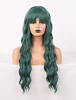 cheap -Cosplay Costume Wig Synthetic Wig Wavy Loose Curl Middle Part Wig 24 inch Green Synthetic Hair Women's Odor Free Fashionable Design Soft Green