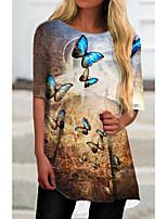 cheap -Women's T Shirt Dress Tee Dress Short Mini Dress Rainbow Half Sleeve Print Animal Print Spring Summer Round Neck Casual 2021 S M L XL XXL 3XL