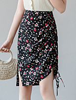 cheap -Women's Going out Weekend Casual Streetwear Skirts Floral / Botanical Split Ruched Print Black