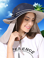 cheap -Women's Fisherman Hat Hiking Cap 1 pc Summer Outdoor Portable Sunscreen Breathable Soft Hat Solid Color Polyester White Blue Pink for Fishing Climbing Beach