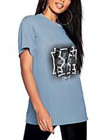 cheap -Women's T shirt Graphic Print Round Neck Tops 100% Cotton Basic Basic Top Blue