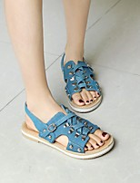 cheap -Women's Sandals Boho Bohemia Beach Flat Heel Round Toe PU Synthetics Blue Light Blue