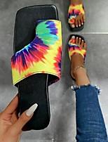 cheap -Women's Sandals Flat Heel Square Toe Rubber Color Block Yellow Blue