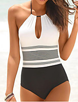 cheap -Women's One Piece Swimsuit Swimwear Bodysuit Quick Dry Breathable Sleeveless Swimming Surfing Water Sports Stripes Summer