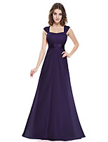 cheap -A-Line Beautiful Back Elegant Wedding Guest Formal Evening Dress Scoop Neck Sleeveless Floor Length Chiffon with Ruched 2021