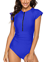 cheap -Women's One Piece Rash Guard Swimsuit Zipper Slim Solid Color Color Block Black Blue Red Swimwear Bodysuit High Neck Bathing Suits New Neutral Sports