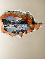 cheap -3D Broken Wall Mountain And Running Water Hallway Background Decoration Can Be Removed Stickers