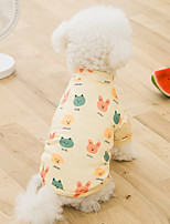 cheap -Dog Cat Shirt / T-Shirt Cartoon Basic Adorable Cute Casual / Daily Dog Clothes Puppy Clothes Dog Outfits Breathable Yellow Costume for Girl and Boy Dog Cotton Fabric S M L XL XXL