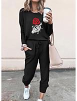 cheap -Women Basic Streetwear Floral Print Vacation Casual / Daily Two Piece Set Tracksuit T shirt Pant Loungewear Jogger Pants Drawstring Print Tops