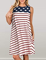 cheap -2019 european and american stripes star flag pocket loose sleeveless round neck large swing dress independence day women