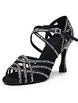 cheap -Women's Latin Shoes Heels High Heel Crystal / Rhinestone Crystal Heel High Heel Open Toe Dark Brown Black Silver Buckle Glitter Crystal Sequined Jeweled / Satin / Satin / Silk / Professional