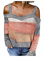 cheap -sweaters for women,women autumn fashion v-neck long sleeve cold shoulder knit sweater hoodies gray