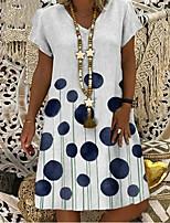 cheap -Women's A Line Dress Knee Length Dress White Short Sleeve Polka Dot Patchwork Print Summer V Neck Casual 2021 S M L XL XXL 3XL