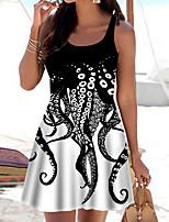 cheap -Women's A Line Dress Short Mini Dress White Sleeveless Print Animal Print Spring Summer Boat Neck Casual 2021 S M L XL XXL 3XL