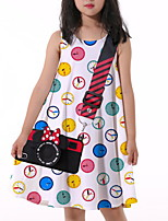 cheap -Kids Little Girls' Dress Graphic Print White Knee-length Sleeveless Flower Active Dresses Summer Regular Fit 5-12 Years